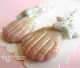 Cute sea shell and sea star earrings