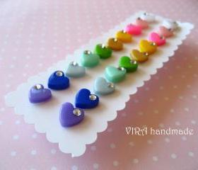 Set of 10 pairs kawaii cute rainbow heart ear studs