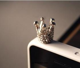 Silver Crystal Crown iphone 4s cell plug