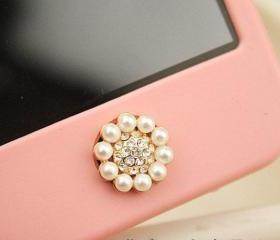 Bling Crystal Circle Pearl iPhone Home Button Sticker for iPhone 4,4s,4g, iPhone 5, iPad