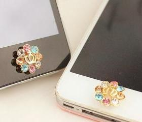 Rhinestone Crown Home Button Sticker for iPhone 4,4s,5