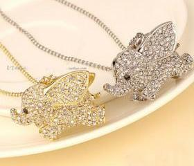Rhinestone Silver Elephant Necklace