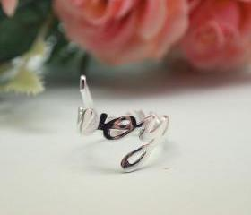  925 sterling silver LOVE YOU Ring in Silver