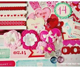 Valentine Day heart shape album Kit - Fourteen by Crate Paper