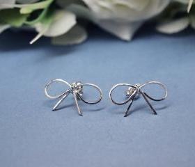  BIG Bowknot Stud Earrings in silver