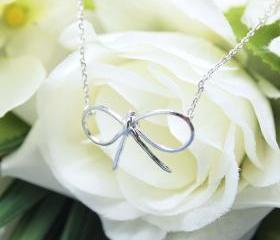 BIG Bowknot charm pendant necklace in silver