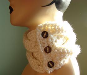 Braided Coconut Button Cowl Scarf - Snow White