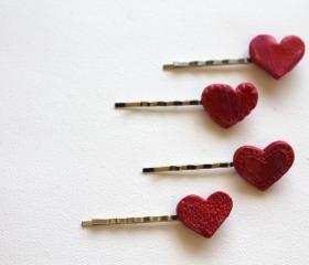 Teeny Tiny Heart Hair Pins, Valentines Day Hair clip, boho, gypsy, hippie, hair accessory