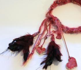 Head Band, Hair Wrap, Boho, Gypsy, Feathers, Tassels, Hair Accessory, Neck Wrap, Hearts, Beads