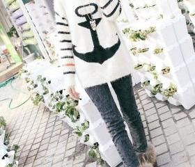 Vintage Anchor Stripes Style Sweater Color Black