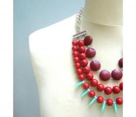 chunky red necklace, valentine necklace