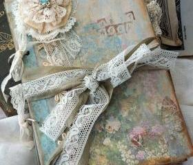 Lace Wedding Guest Book Vintage Cottage Style - Custom