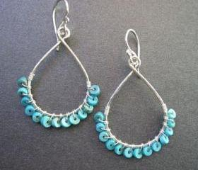 Aphrodite 39 Hammered drop hoop with turquoise heishi beads