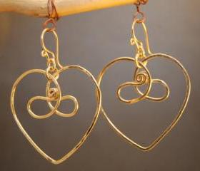 Nouveau 159 Hammered Celtic Heart Earrings, sterling silver, 14k gold filled