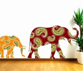 Mummy and Baby Elephant Wall Decals with Paisley Designs