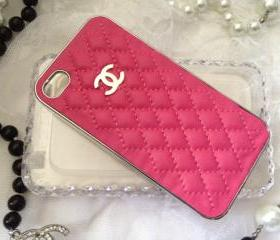 Quilted iPhone 4 4s Hot Pink Chrome Silver Case Cover