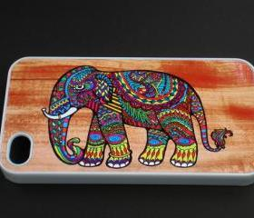 iPhone 4/4S Colorful Pattern Elephant woodgrain Hard Cover Case iPhone 4S