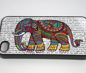 iPhone 4 / 4S Colorful Pattern Elephant Hard Cover Case iPhone 4/4S