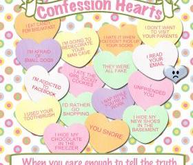 Valentine Confession Hearts Candy Treat Label Digital Download Printable Scrapbook Tag Collage Sheet