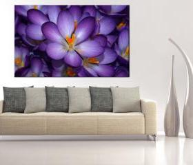 16x10 Digital printed Canvas purple flower to your wall (size: 16x10 inch plus border).