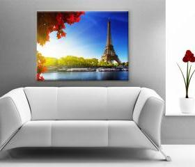 24x17 Digital printed Canvas Eiffel Tower to your wall, nature photo in paris (size: 24x17 inch plus border).
