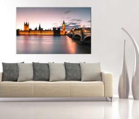16x10 Digital printed Canvas Thames in London to your wall, Thames river (size: 16x10 inch plus border).