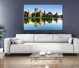 16x10 Digital printed old castle Canvas to your wall, old fortress next to the river in the sunset (size: 16x10 inch plus border).