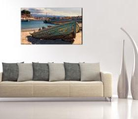 16x10 Digital printed Canvas rustic old boat to your wall, old vintage Greek boat (size: 16x10 inch plus border).