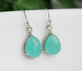 Wedding Jewelry Dangle Earrings Bridal Earrings Bridesmaid Earrings Mint Opal Sea Foam glass Pear Cut Earrings