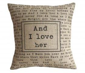 'And I Love Her' Pillow Cover