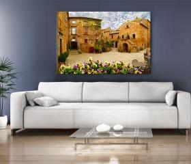 15x11 Digital printed Canvas old italy house to your wall houses in Italy (size: 15x11 inch plus border).