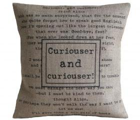 'Curiouser And Curiouser' Alice in Wonderland Cushion Cover 