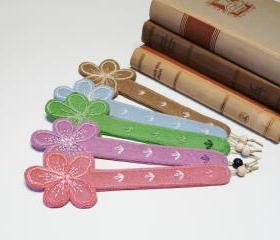 Embroidery felt bookmark five colors felt flower 5 pieces