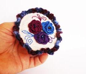 Felted crocheted brooch Eggplant blue burgundy roses Hand embroidery
