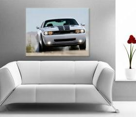 15x11 Digital printed Canvas muscle dodge car to your wall sport dodge challenger (size: 15x11 inch plus border).