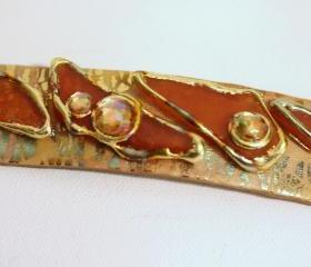 Barrette, Hair clip, boho, gypsy, hippie, gold, gilt, stones, hair accessory, formal, holiday, dressy, unique