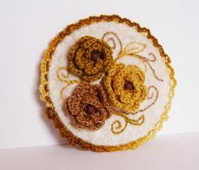 Embroidered brooch Brown mustard Crochet roses