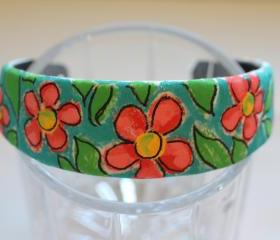 Flowers, Mondrian Inspired Hand Painted Headband, Bohemian, Gypsy, Upcycled, Trend