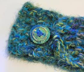 Cowl Neck, Scarf, Neck Wrap, Collar, art yarn, custom button, boho, warm, soft and cozy, hippie, fashion