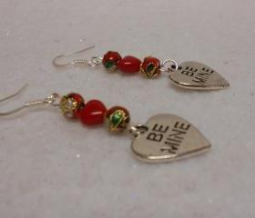 Valentine Earrings Be Mine Earrings Heart Earrings