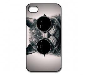 Cat With Glasses iPhone 4/ 4s /5 Case / Cover. Silicone Rubber / Hard Plastic