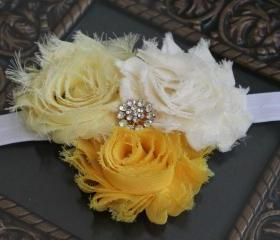 Yellow Shabby Flower Headband