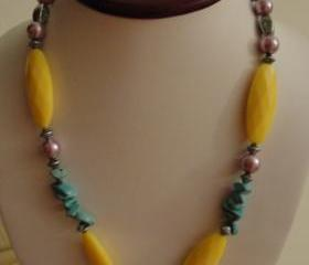 Lovely Turquoise Blue, Yellow and Pink Beads on a Long Necklace