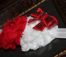 Red & White Shabby Valentine Headband