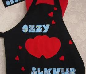valentine special chef cap oven glove and double sided apron great gift new personalized text is written