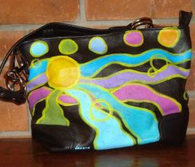 Hand Painted Handbag Purse Shoulder Bag Hobo Bag Funky Abstract Painting