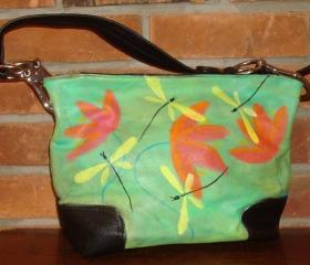 Hand Painted Abstract Dragonfly Handbag Purse Shoulder Bag Hobo Bag