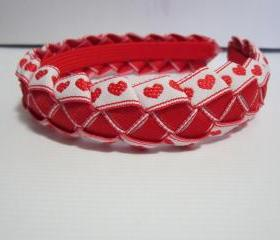 Red hearts woven ribbon headband for girls