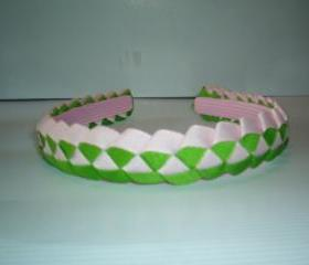 Girls woven ribbon headband in pink and green