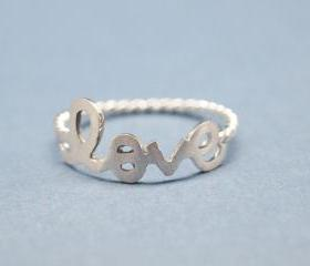 Love with twisted ring band in 925 sterling silver-size 7